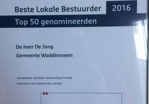 Wethouder Kees de Jong in Top 50 Beste Lokale Bestuurder
